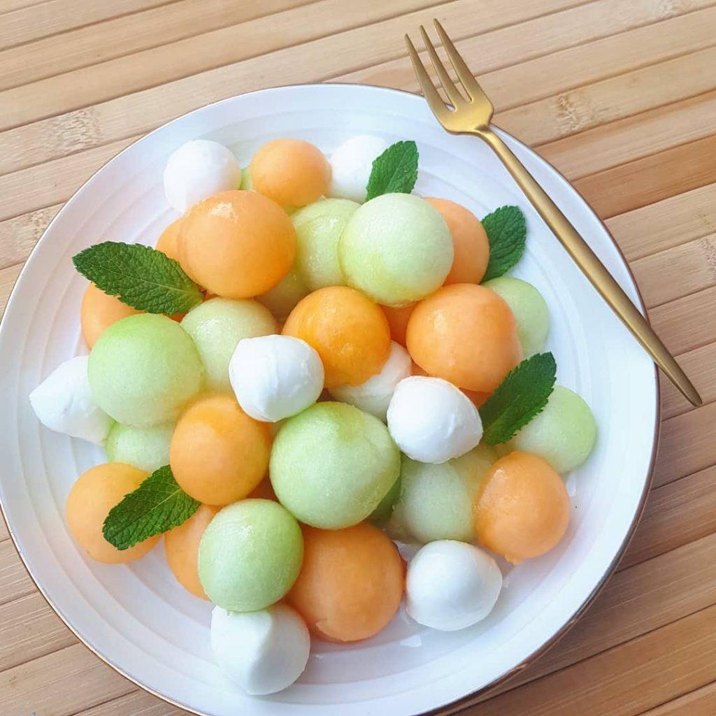 Meloensalade met mozzarella