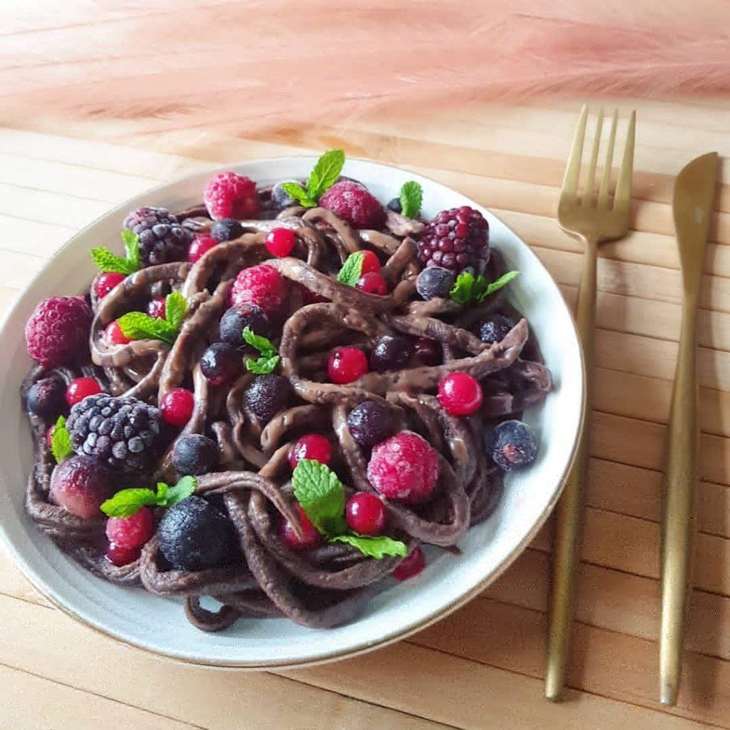 Chocolade tagliatelle met rood fruit